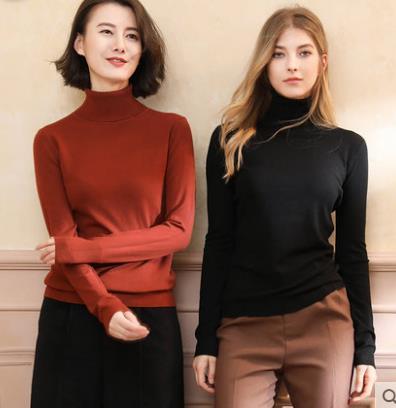 2018秋冬新款韩版女式平面纯色高翻领针织打底毛衫修身套头毛衣