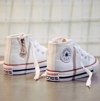 儿童帆布鞋高帮板鞋子,