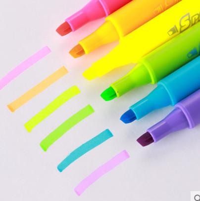 办公学生荧光记号笔标记彩色笔6支装
