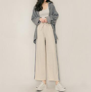 雪纺高腰阔腿裤女裤,