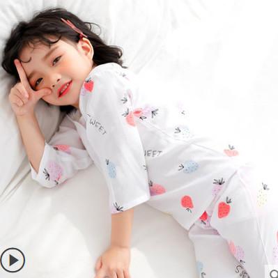 儿童睡衣薄款可爱棉绸男孩春夏季空调服