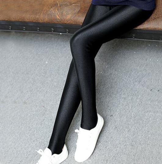 金林菲夏季冰丝薄款光泽裤高腰收腹美腿打底裤
