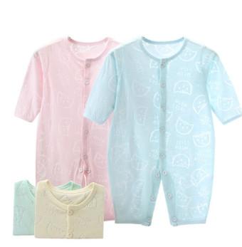 夏季薄款婴儿长袖连体衣夏装,