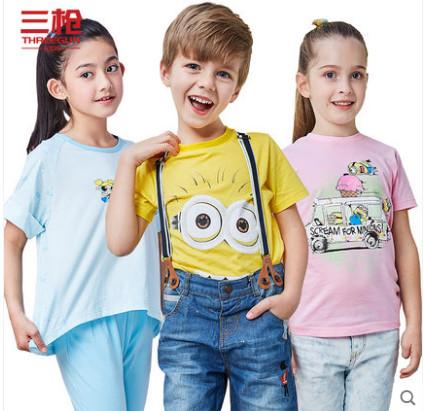 群友到货!三枪中大童韩版潮流上装T恤