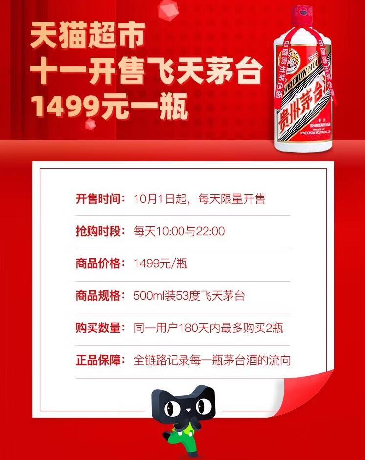 天猫超市10月1日起开售1499元飞天茅台,每天10点 22点开抢,半年内每人限购2瓶