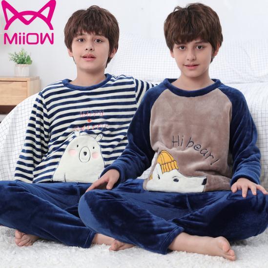 【群友好评!】猫人法兰绒儿童睡衣两件套
