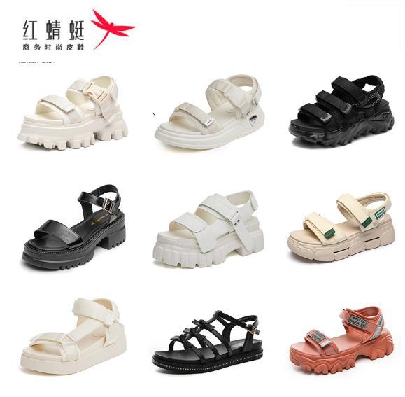 福利特惠!抢!【红蜻蜓品牌旗舰店】真皮运动凉鞋女